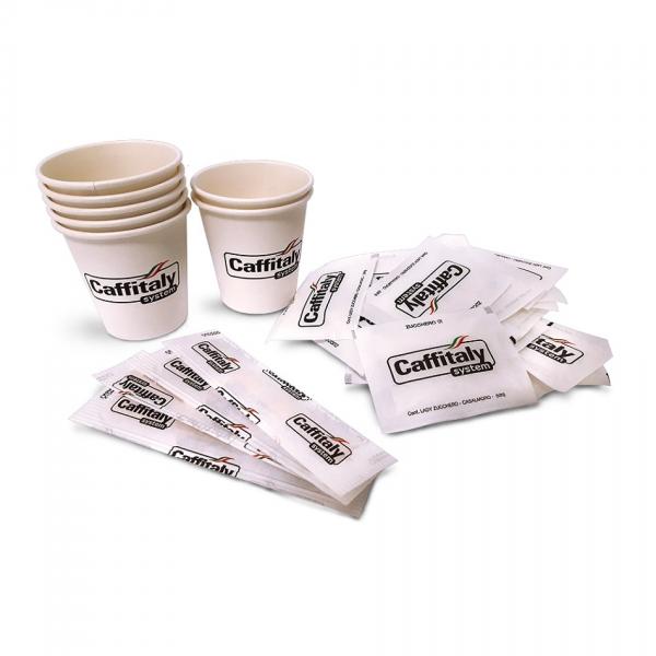 Комплект чаши, бъркалки и захарчета Caffitaly