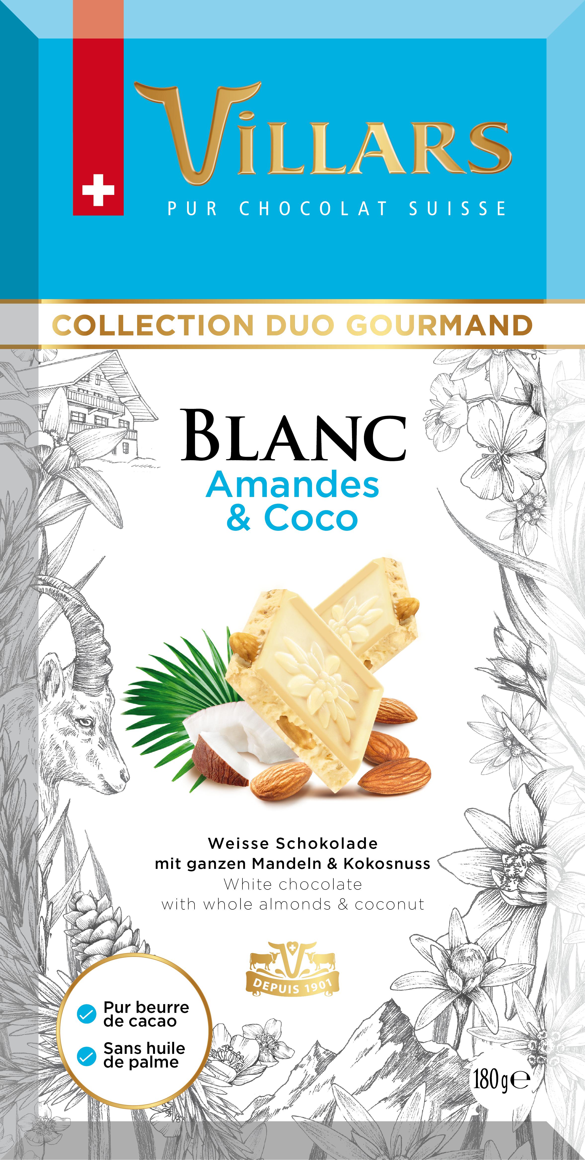 Бял шоколад с бадеми и карамелизиран кокос