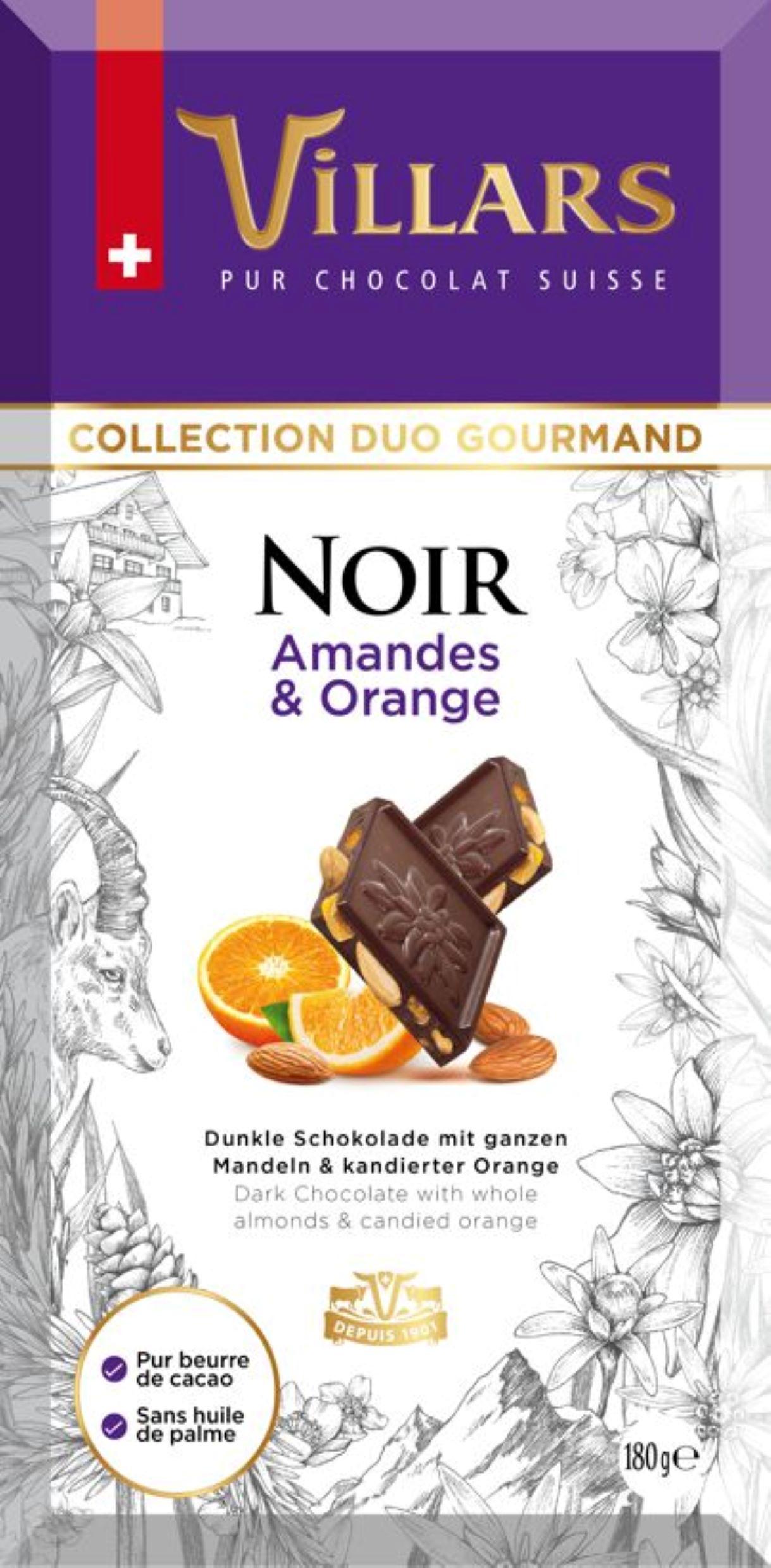 Тъмен шоколад с бадеми и захаросани портокалови кори